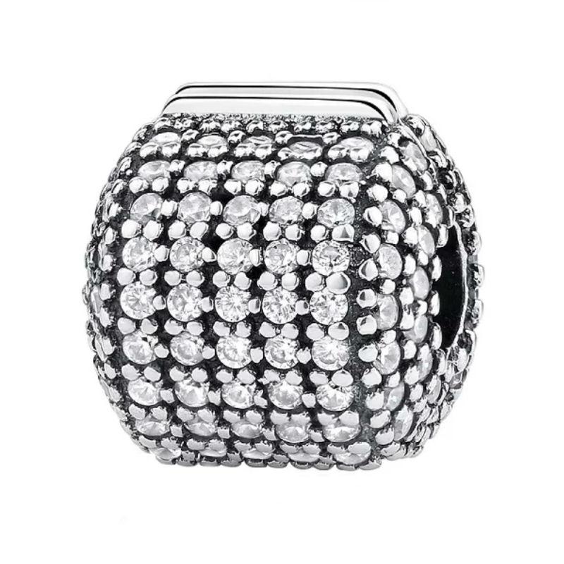 Charm clip de plata de primera ley y circonitas. Barril. Compatible Pandora 791873CZ
