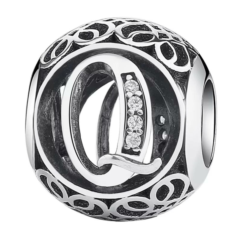 Charm de plata de primera ley vintage letra Q. Compatible Pandora 791861CZ