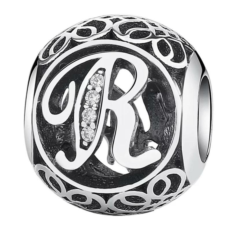 1d773ff23ade Charm de plata de primera ley vintage letra R. Compatible Pandora