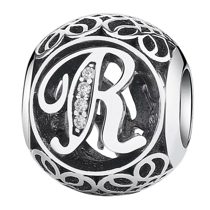Charm de plata de primera ley vintage letra R. Compatible Pandora 791862CZ