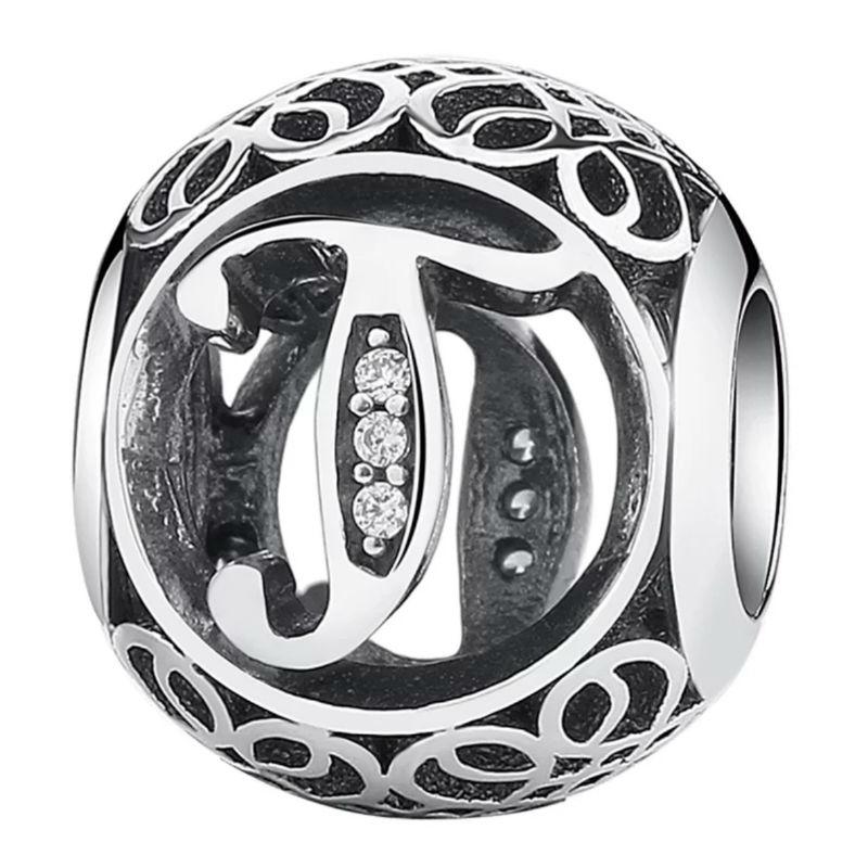 Charm de plata de primera ley vintage letra T. Compatible Pandora 791864CZ