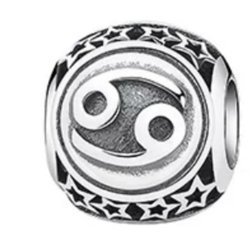 Charm zodíaco Cáncer de plata de primera ley vintage. Compatible Pandora 791939