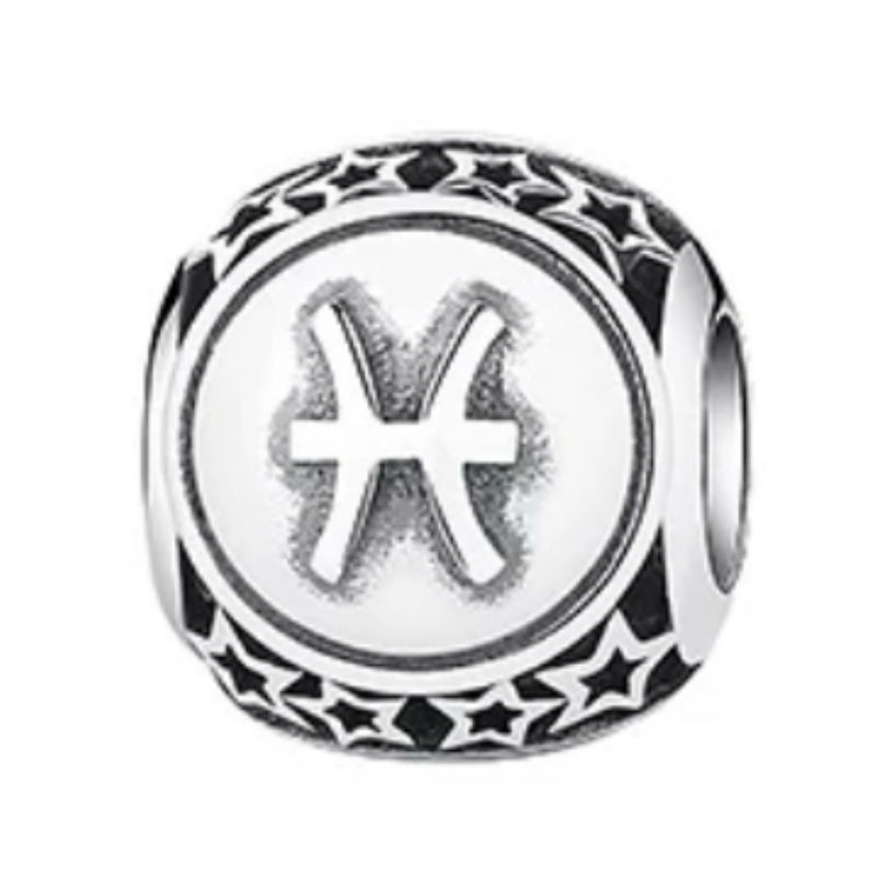 Charm zodíaco Piscis de plata de primera ley vintage. Compatible Pandora 791935