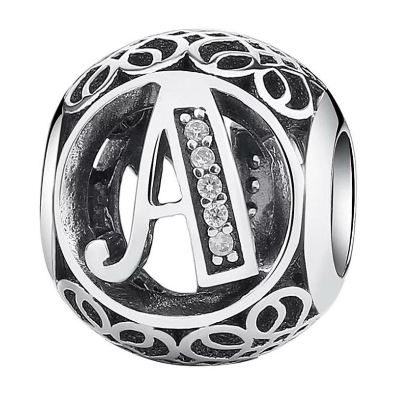 Charms plata vintage letra A. Compatible Pandora 791845CZ