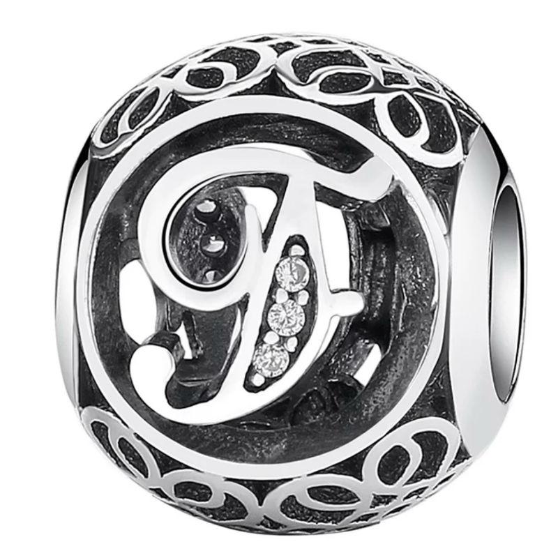 Charm de plata de primera ley vintage letra F. Compatible Pandora 791850CZ
