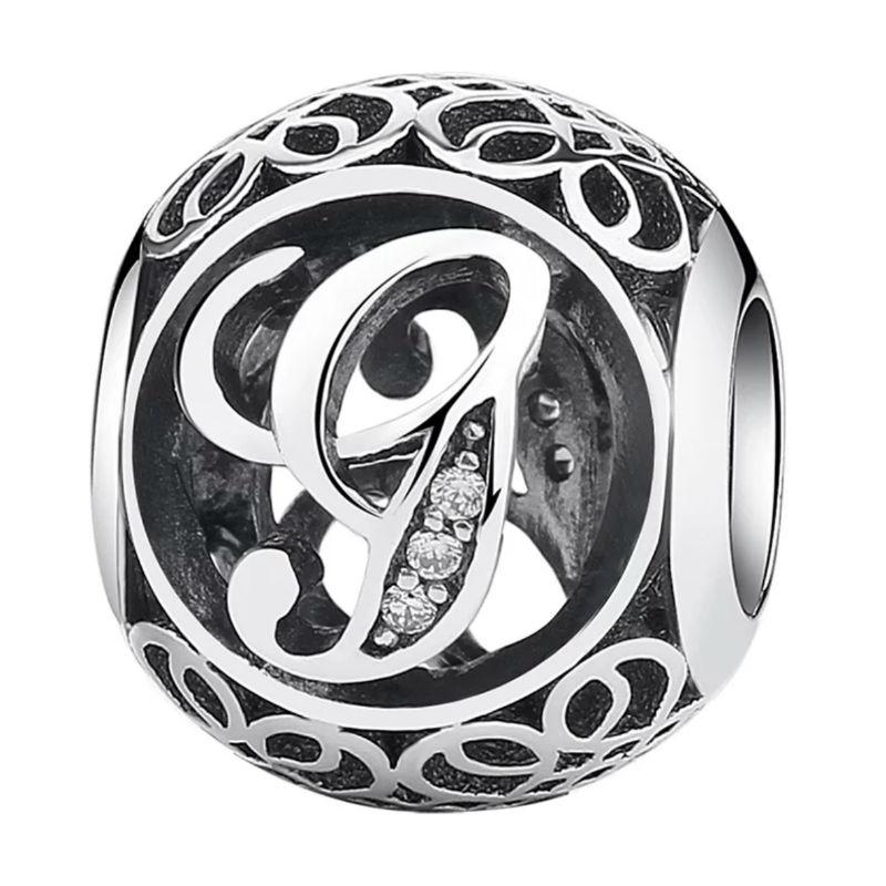 Charm de plata de primera ley vintage letra G. Compatible Pandora 791851CZ