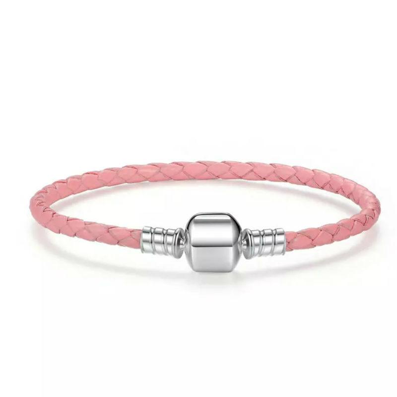 Pulsera-de-cuero-trenzado-rosa-para-charms-Compatible-Pandora
