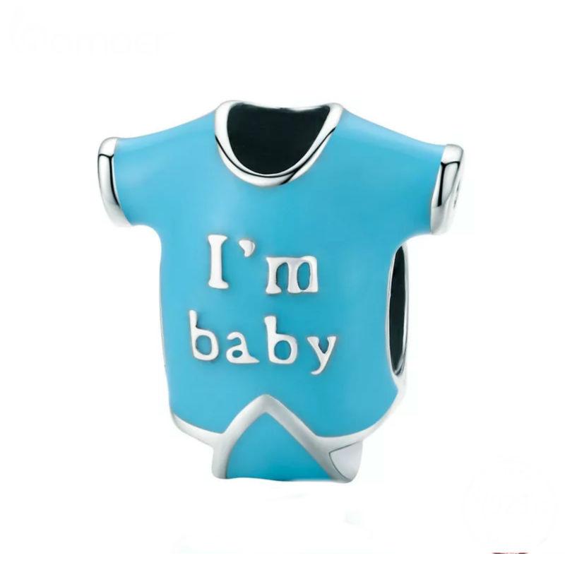 """Charm """"body bebé"""" en plata de ley y esmalte. Compatible Pandora"""