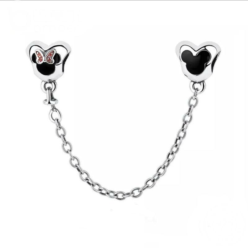 eb370a226422 Charm cadena de seguridad Mickey y Minnie en plata de ley. Compatible  Pandora