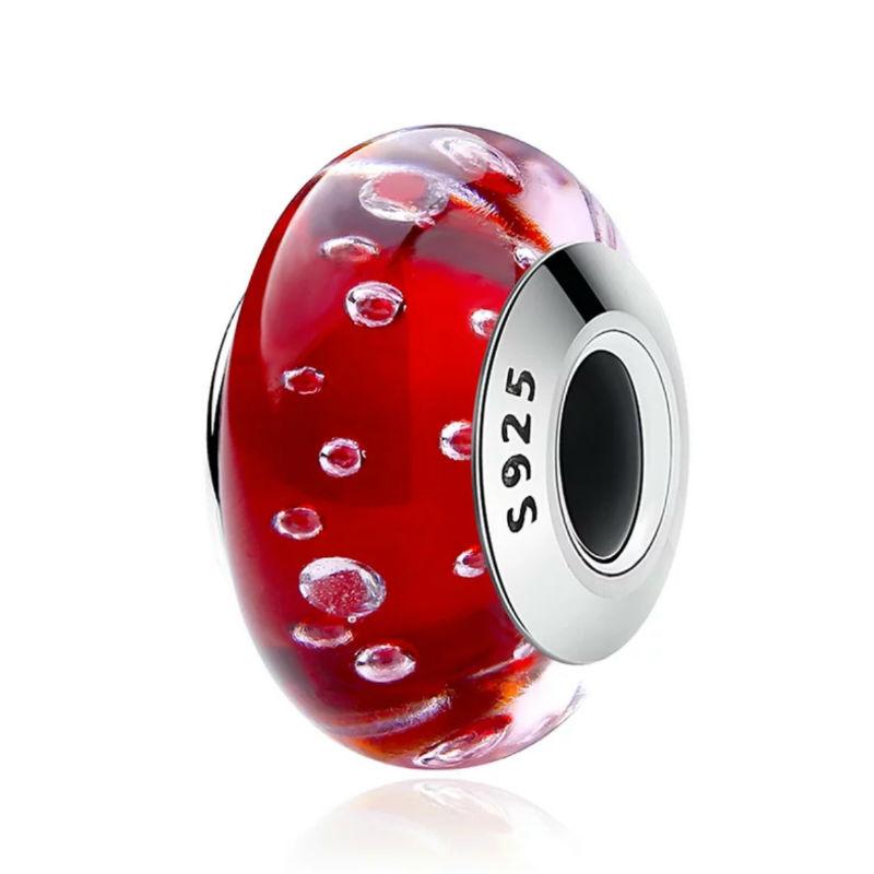 """Charm """"Burbujas"""" en plata de ley y cristal de Murano. Compatible Pandora."""