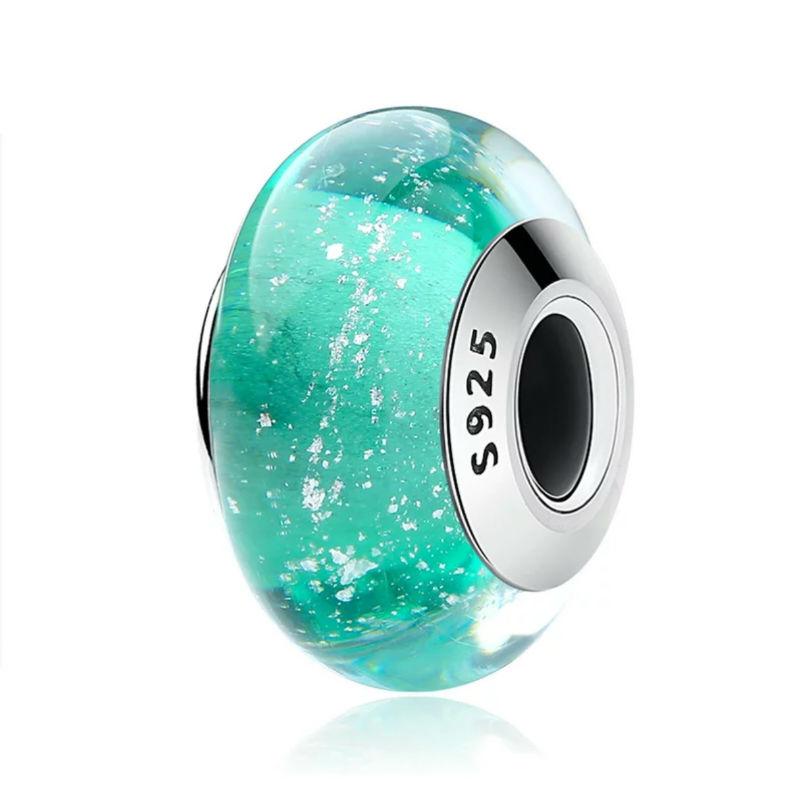 """Charm """"La Sirenita"""" en plata de ley y cristal de Murano. Compatible Pandora."""