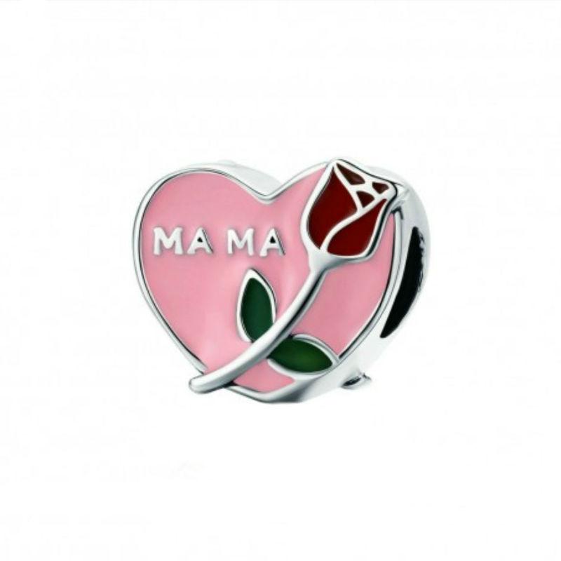 """Charm """"Mamá"""" corazón y rosa en plata de ley y esmalte. Compatible Pandora."""