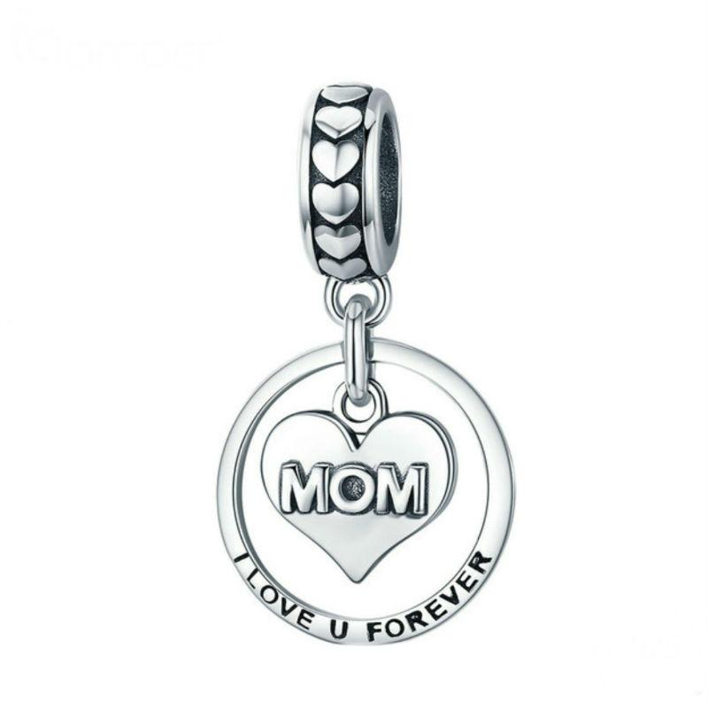 """Charm """"Mamá siempre te querré""""niño en plata de ley. Compatible Pandora."""