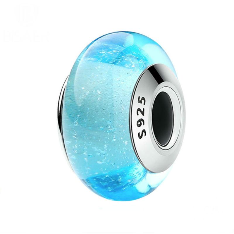 """Charm """"Princesa Elsa"""" en plata de ley y cristal de Murano. Compatible Pandora."""