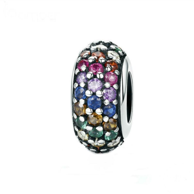 """Charm """"arco iris"""" en plata de ley y circonitas. Compatible Pandora"""