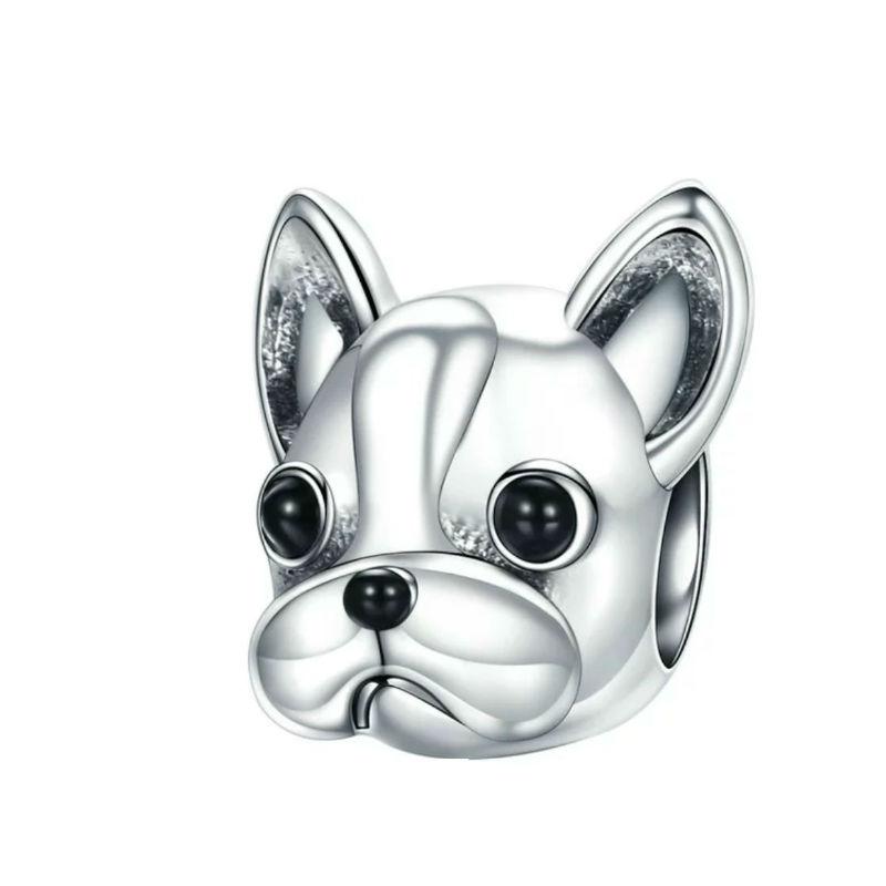 """Charm """"bulldog francés"""", plata de ley y esmalte negro. Compatible Pandora"""