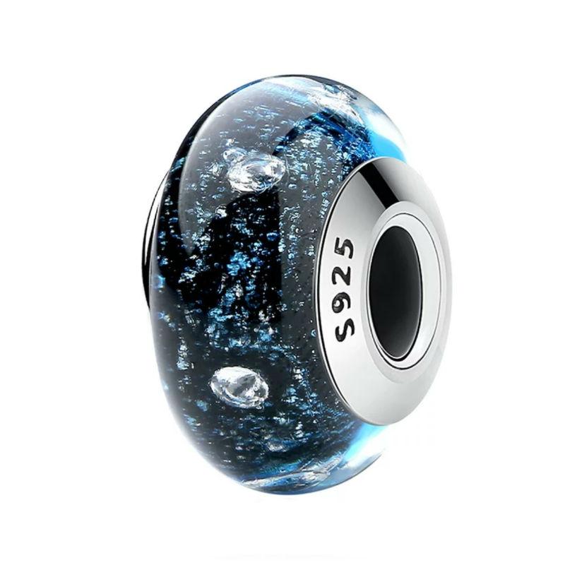 """Charm """"cielo estrellado"""" en plata de primera ley y cristal de Murano. Compatible con pulseras Pandora."""
