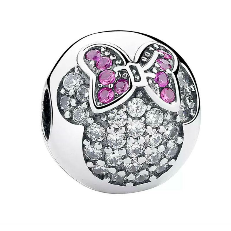 Charm clip Minnie plata de ley y circonita. Compatible Pandora 791450CZ