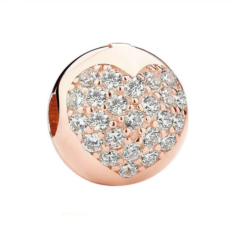 Charm clip corazón en plata rose y circonita. Compatible Pandora 781053CZ