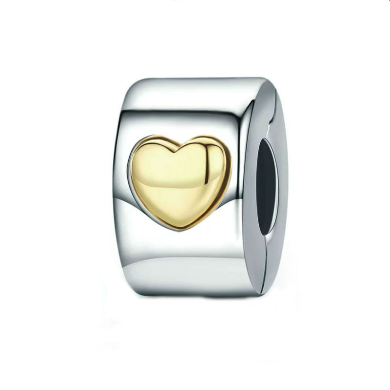 Charm clip en plata de ley con corazón en oro de 14 ktes. Compatible Pandora.