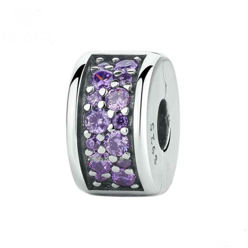 Charm clip plata de ley y cristal morado. Compatible Pandora.