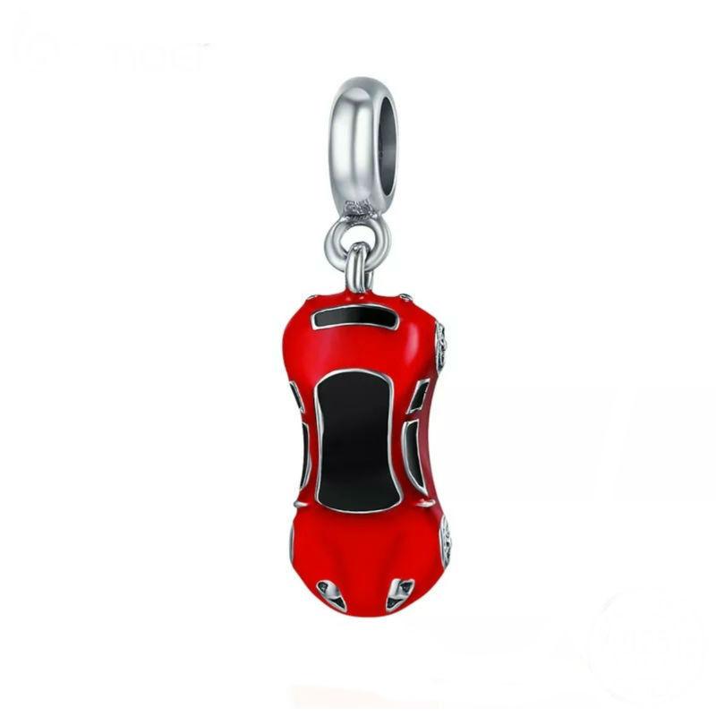 """Charm """"coche deportivo"""" en plata de ley con esmaltes. Compatible Pandora"""