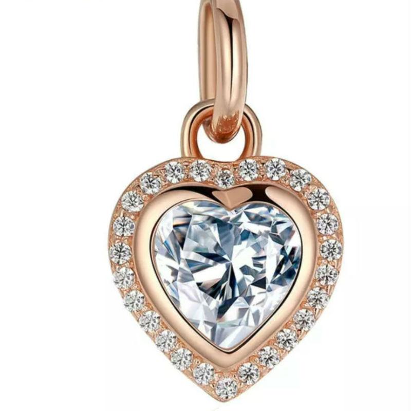 Charm colgante corazón de plata rose y circonitas. Compatible Pandora