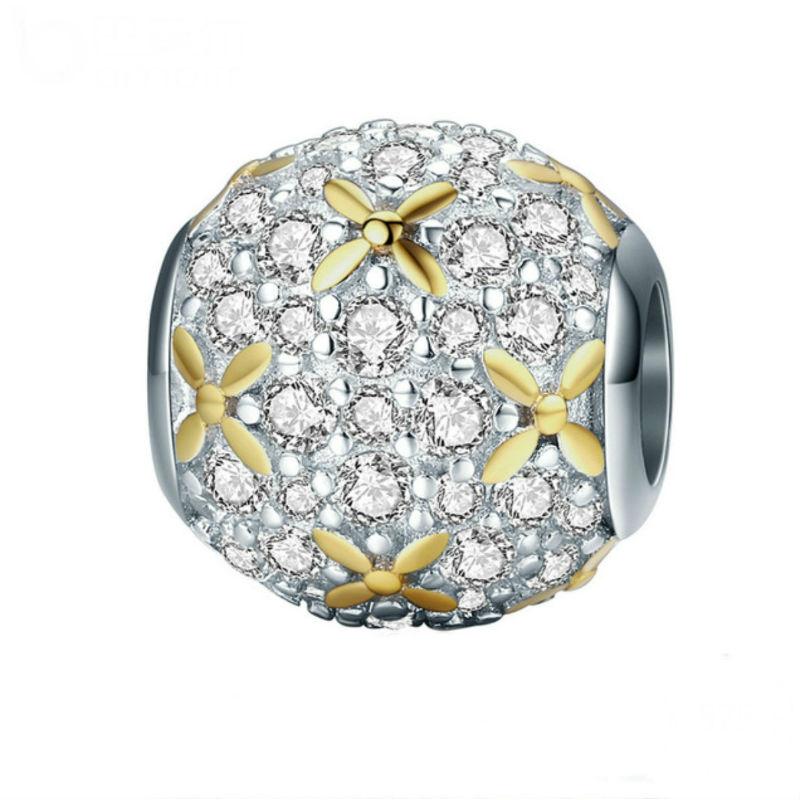 Charm con flores chapadas en oro, plata de ley y circonitas. Compatible Pandora