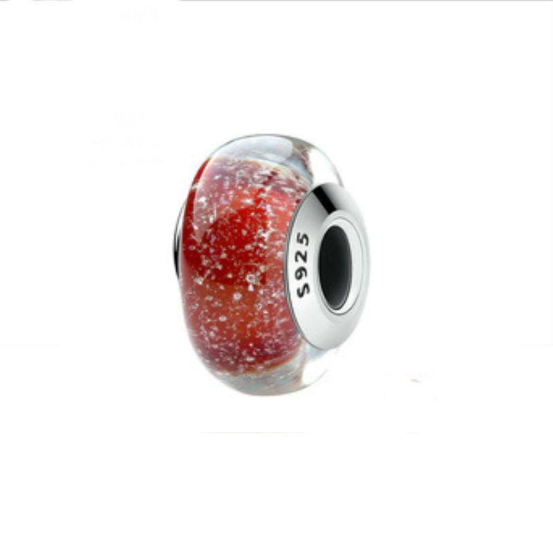 """Charm """"copos de nieve"""" en plata de ley y cristal de Murano. Compatible Pandora."""