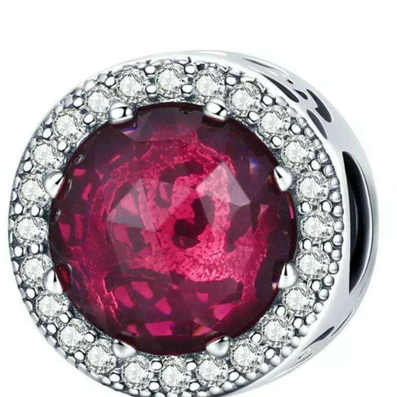 Charm corazones radiantes plata de ley y cristal rosa cereza. Compatible Pandora 791725NCC