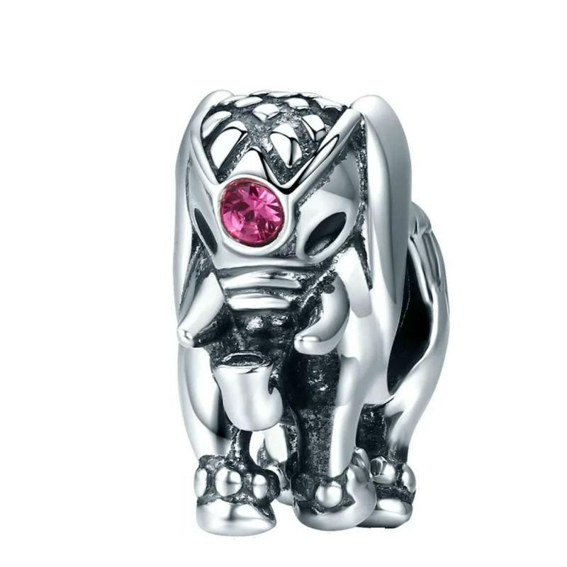 """Charm """"elefante asiático"""", plata de ley y circonita rosa. Compatible Pandora"""