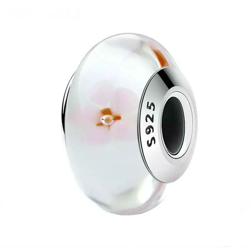 """Charm """"flor de almendro"""" en plata de ley y cristal de Murano. Compatible Pandora."""