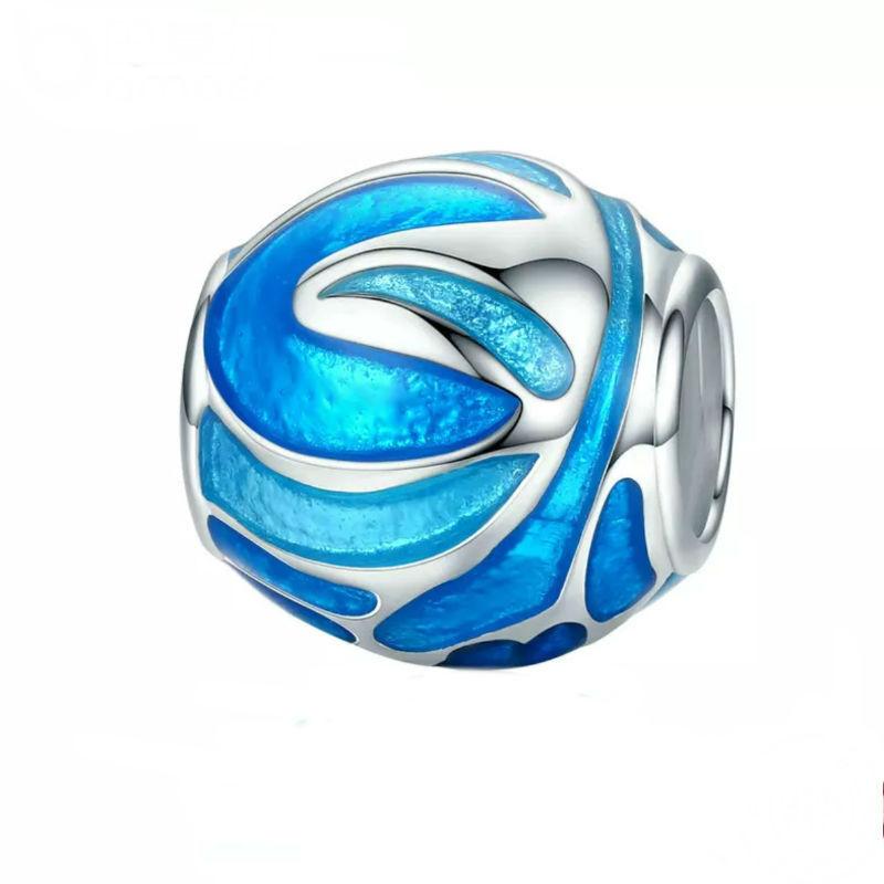 """Charm """"fuegos artificiales"""", plata de ley y esmalte azul. Compatible Pandora"""
