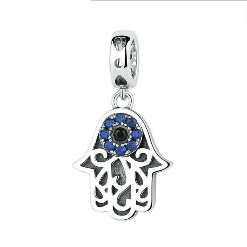 """Charm """"mal de ojo"""" en plata de ley y cristal azul. Compatible Pandora"""