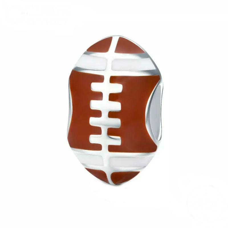 Charm pelota futbol americano, plata de ley y esmalte granate. Compatible Pandora.