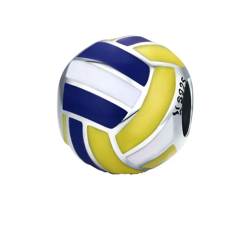 Charm pelota voleibol, plata de ley y esmaltes. Compatible Pandora.
