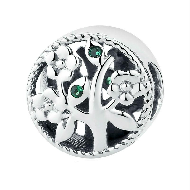 """Charm """"árbol de la vida"""" plata de ley, circonita y cristal. Compatible Pandora"""