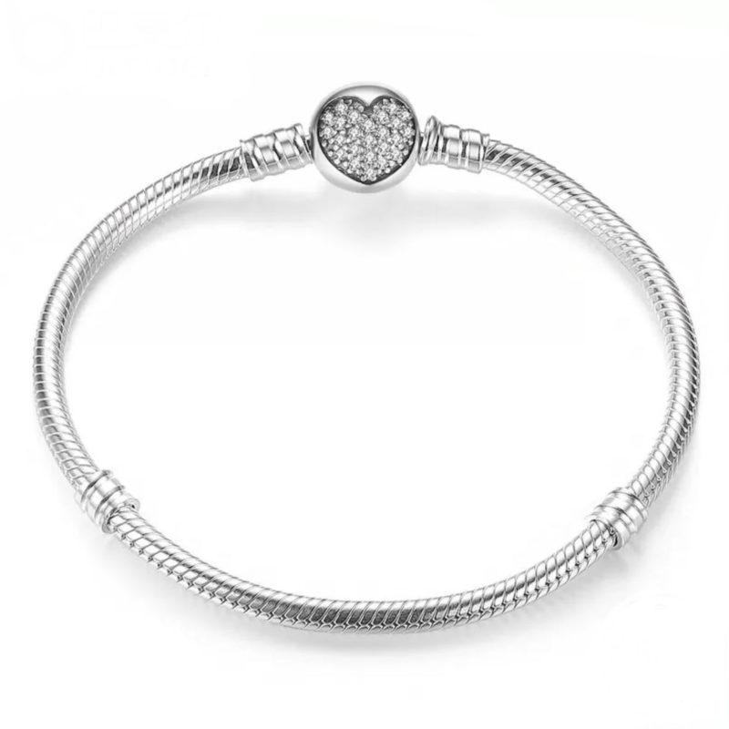 Pulsera corazón para charms en plata de ley y circonita. Compatible Pandora 590743CZ