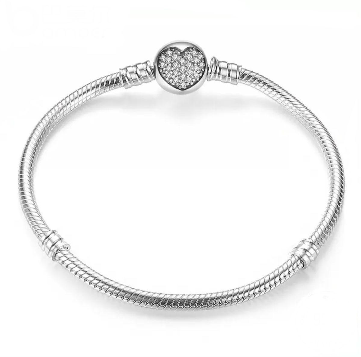 7d0974f36 Pulsera corazón para charms en plata de ley y circonita. Compatible Pandora  590743CZ