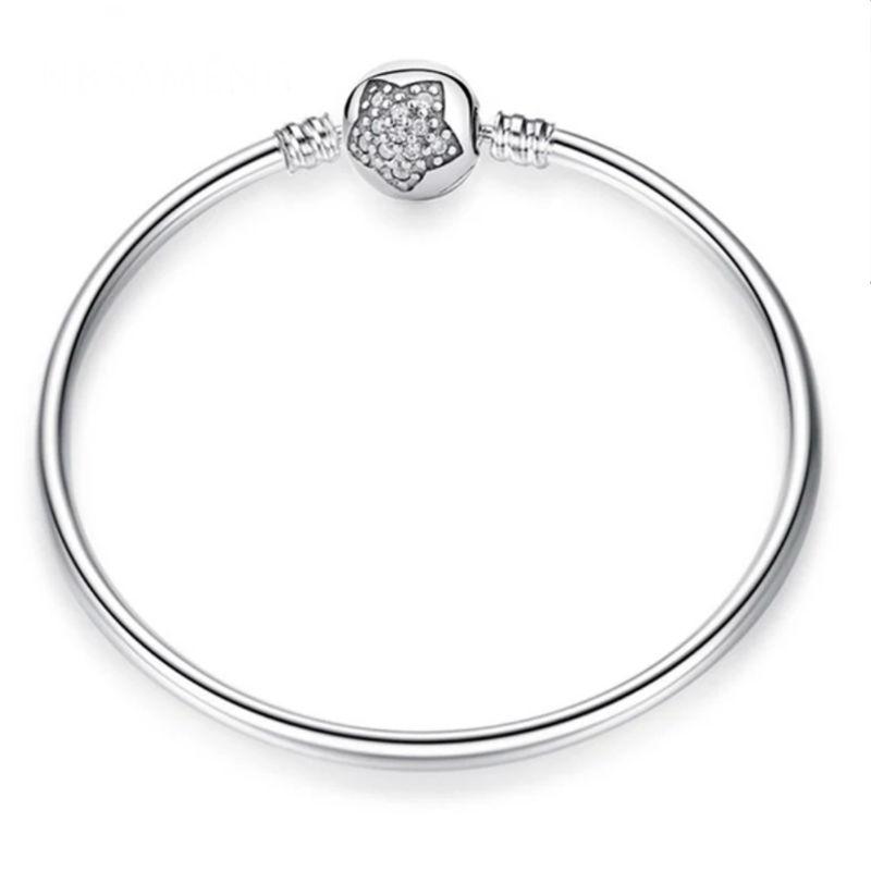 Pulsera estrella para charms en plata de ley y circonita. Compatible Pandora