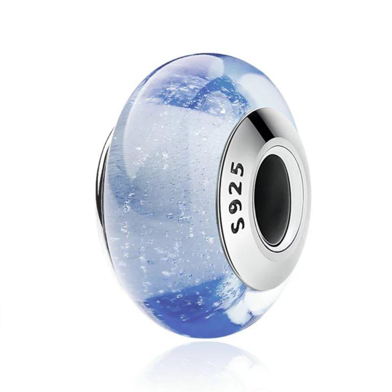 """Charm """"Cenicienta"""" en plata de ley y cristal de Murano. Compatible Pandora."""