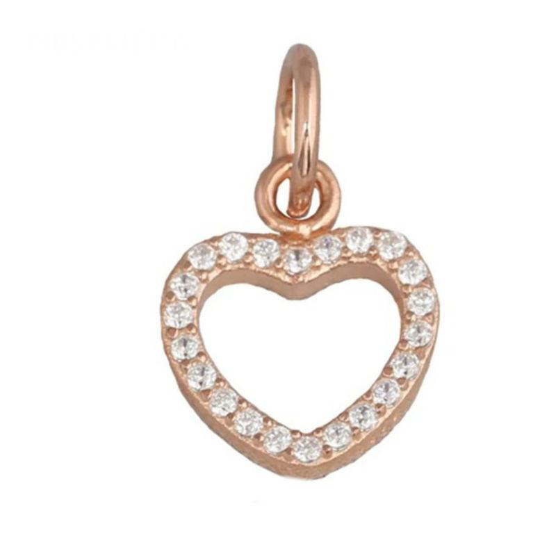 Charm corazón rosé con zirconitas. Compatible Pandora.