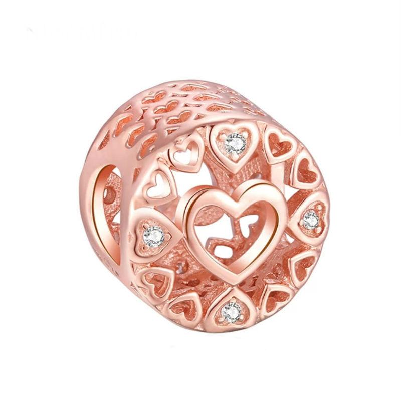Charm corazones rose con circonitas. Compatible Pandora