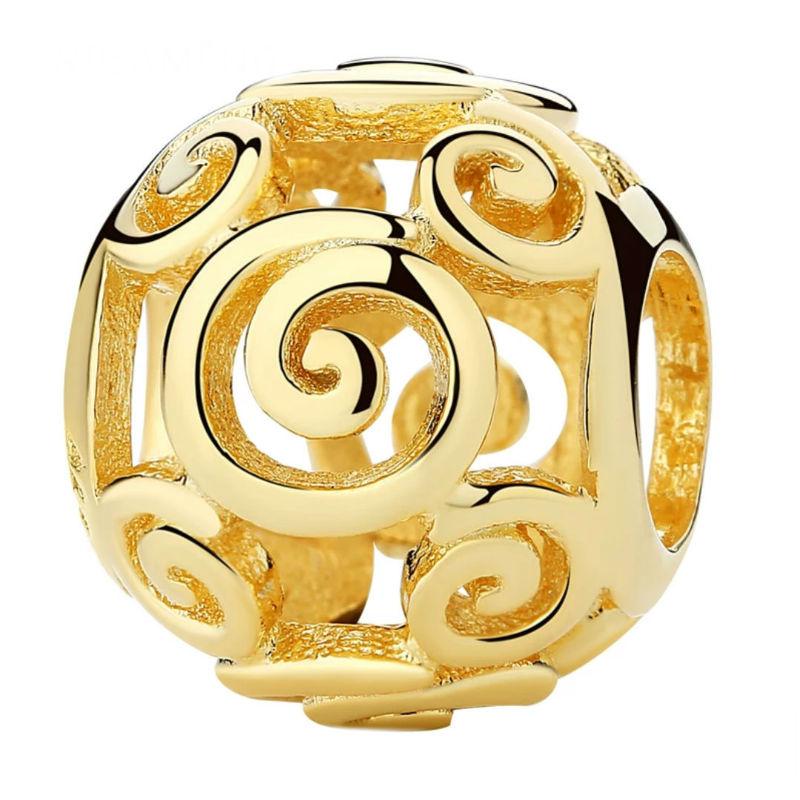 Charm caracol plata chapada en oro 18 kt. Compatible Pandora