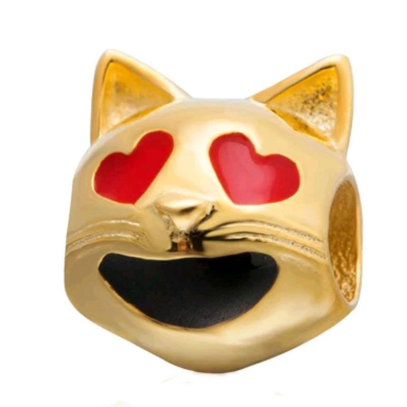 Charm emoticono gato hapado oro. Compatible Pandora