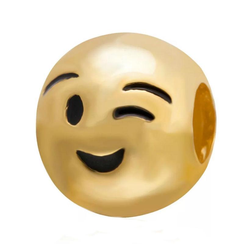 Charm emoticono guiño chapado oro. Compatible Pandora