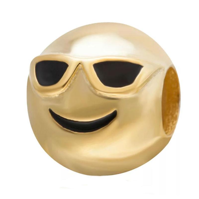 Charm emoticono gafas de sol chapado oro. Compatible Pandora