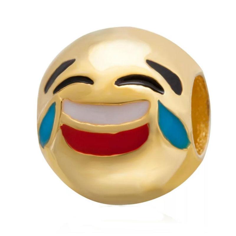 Charm emoticono risa plata de primera ley chapada en oro de 18 ktes y esmalte. Compatibles con pulseras Pandora.