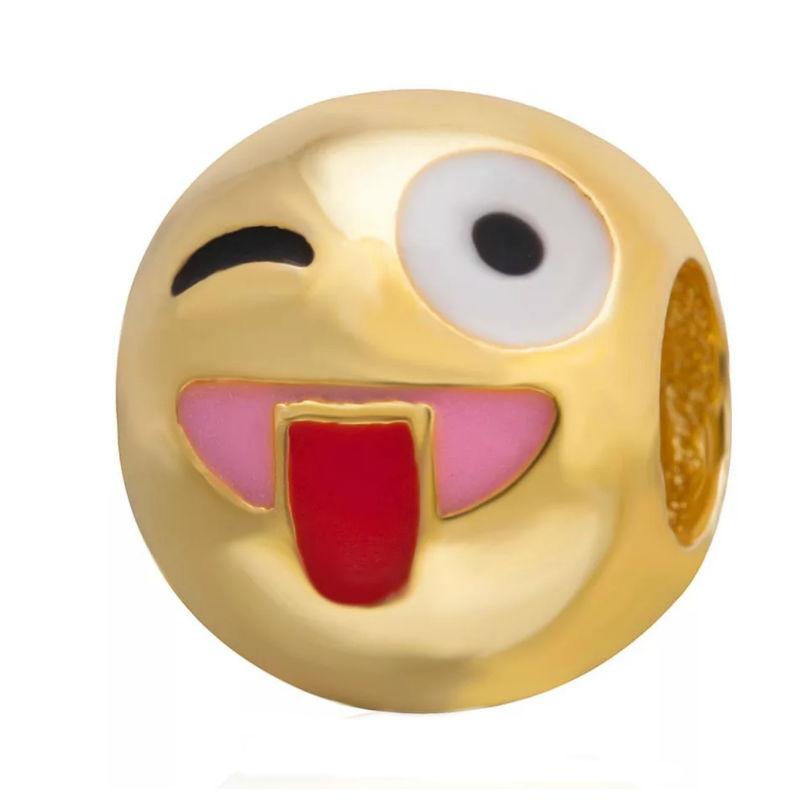 Charm emoticono lengua chapado oro. Compatible Pandora
