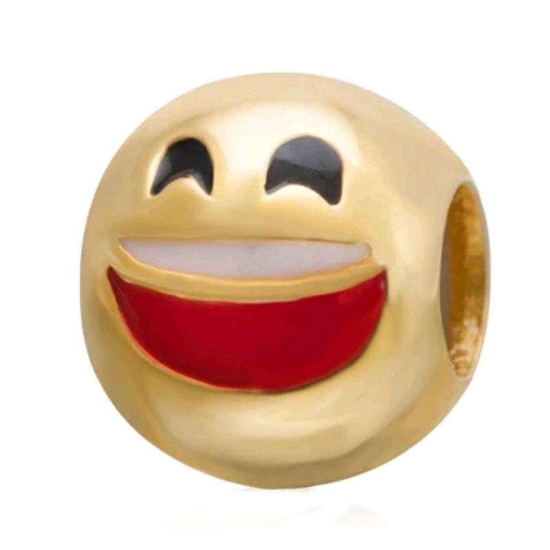 Charm emoticono contento plata de primera ley chapada en oro de 18 ktes y esmalte. Compatibles con pulseras Pandora.
